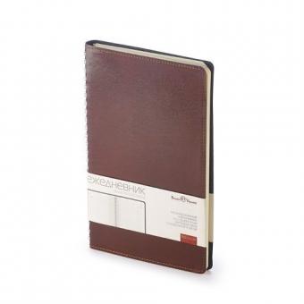 Ежедневник недатированный Verona, А5, коричневый, бежевый блок, без обреза