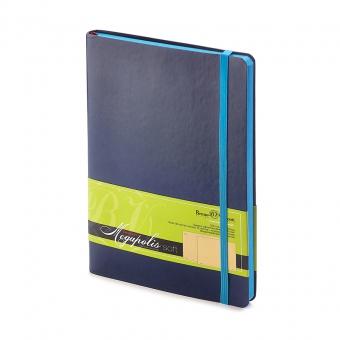 Блокнот без линовки Megapolis Soft, А5, синий, бежевый блок, контрастный с обложкой обрез, ляссе