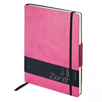 Ежедневник недатированный Zenith, розовый, В5, бежевый блок, без обреза, ляссе, на резинке