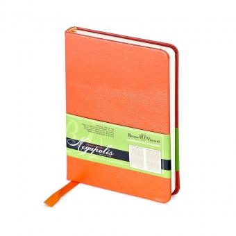 Ежедневник недатированный Megapolis, А6, оранжевый, бежевый блок, без обреза, ляссе