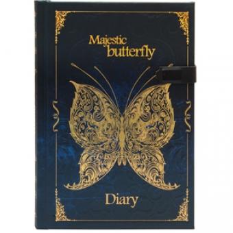 Ежедневник полудатированный Бабочки.Фантазия, А5-, синий, бежевый блок, золотой обрез, ляссе