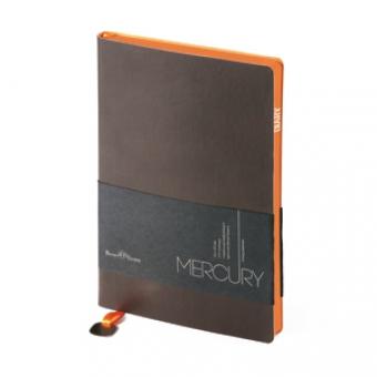 Ежедневник недатированный Mercury, коричневый, А5, белый блок, оранжевый обрез, ляссе с шильдом