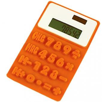 "Калькулятор ""Flexible""; оранжевый; 9,5х15х0,8 см; пластик; тампопечать"