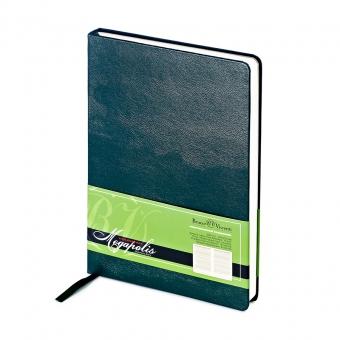 Ежедневник недатированный Megapolis, А5, зеленый, бежевый блок, без обреза, ляссе