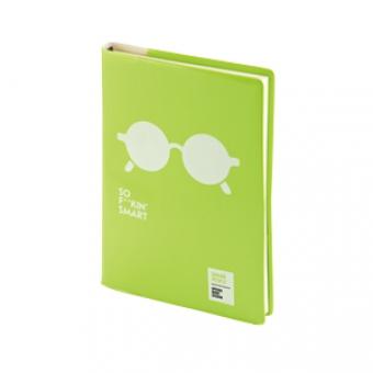 Ежедневник недатированный Crazy, А5, зеленый, бежевый блок, без обреза, ляссе