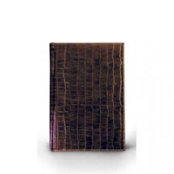 Ежедневник полудатированный Croco, А6+, коричневый, бежевый блок, золотой обрез, два ляссе