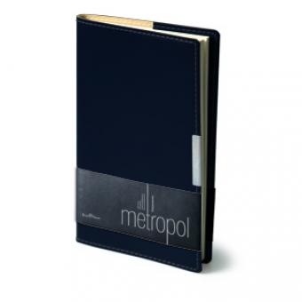 Еженедельник недатированный Metropol, А6, черный, бежевый блок, металлический шильдик, без обреза