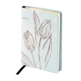 Ежедневник недатированный Flowers, А6, голубой, бежевый блок, без обреза, ляссе