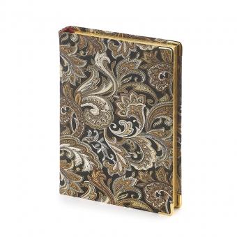 Ежедневник полудатированный Esmeralda, А5+, золотой, бежевый блок, золотой обрез, два ляссе