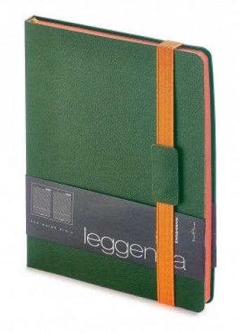 Ежедневник недатированный Leggenda, B5, зеленый, бежевый блок, оранжевый обрез, ляссе