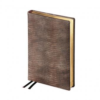 Ежедневник полудатированный Aristocrat, А5+, коричневый, бежевый блок, золотой обрез, ляссе, карта