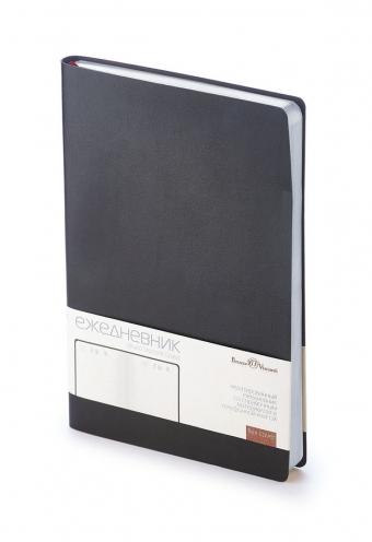 Ежедневник недатированный Grand, А5, черный, бежевый блок, серебряный обрез, двойное ляссе, шильд