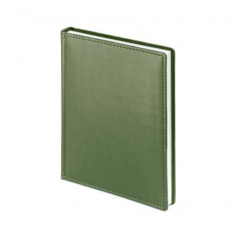 Ежедневник недатированный Velvet, А6+, оливковый, белый блок, без обреза, ляссе