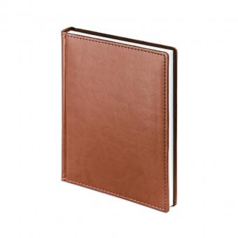 Ежедневник недатированный Velvet, А6+, светло-коричневый, белый блок, без обреза, ляссе
