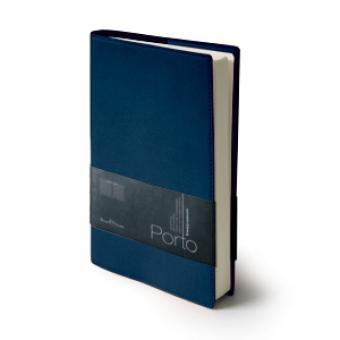Ежедневник портфолио полудатированный Porto, А5, синий, бежевый блок, без обреза,