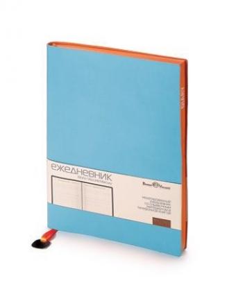 Ежедневник недатированный Mercury, небесно-голубой, А5, белый блок, оранжевый обрез, ляссе с шильдом