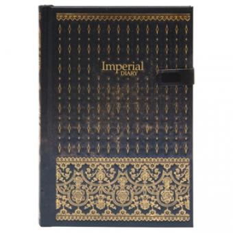 Ежедневник полудатированный Британская Коллекция, А5-, черный, бежевый блок, золотой обрез,ляссе