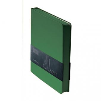 Ежедневник недатированный New Citizen, А5, зеленый, белый блок, зеленый обрез, ляссе