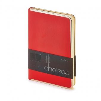 Ежедневник недатированный Chelsea, А5, красный, бежевый блок, золотой обрез, ляссе
