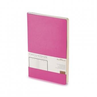 Ежедневник недатированный Megapolis Flex, А5, розовый, бежевый блок, без обреза