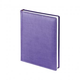 Ежедневник недатированный Velvet, А6+, сиреневый, белый блок, без обреза, ляссе