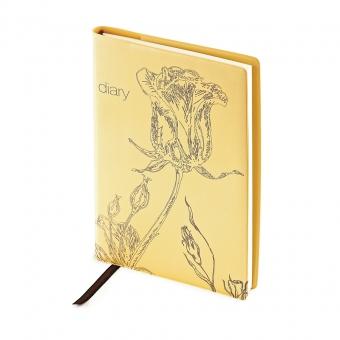 Ежедневник недатированный Flowers, А5, оранжевый, бежевый блок, без обреза, ляссе
