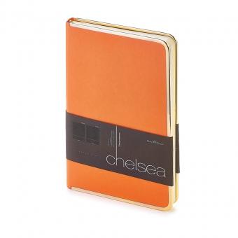Ежедневник недатированный Chelsea, А5, оранжевый, бежевый блок, золотой обрез, ляссе