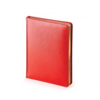 Ежедневник недатированный Sidney Nebraska, А6+, красный, белый блок, золотой обрез, ляссе