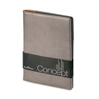Еженедельник недатированный Concept, А5, серый, бежевый блок, без обреза