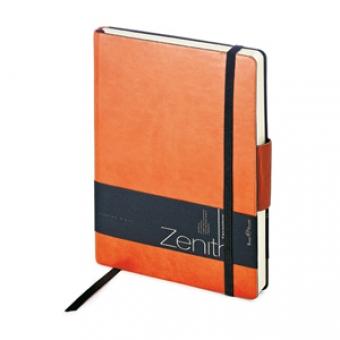Ежедневник недатированный Zenith, оранжевый, В6, бежевый блок, без обреза, ляссе, на резинке