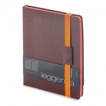 Ежедневник недатированный Leggenda, B5, коричневый, бежевый блок, оранжевый обрез, ляссе