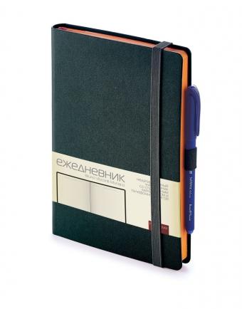 Ежедневник недатированный Monaco, А5, черный, бежевый блок, оранжевый обрез, ляссе