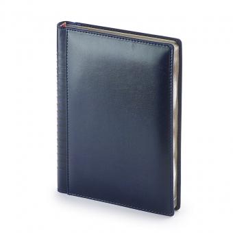 Ежедневник недатированный Image, А5, синий, бежевый блок, серебряный обрез, ляссе