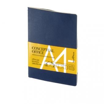 Блокнот Conceptual office, A4-, синий, бежевый блок, без обреза, клетка, 60 листов