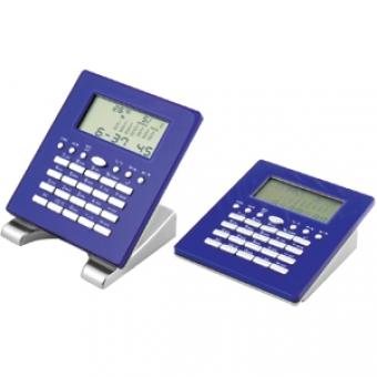 Калькулятор многофункциональный: календарь, часы, будильник, метеостанция; синий; 10,5х9,2х3,5 см; п