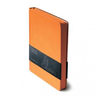 Ежедневник недатированный New Citizen, А5, оранжевый, белый блок, оранжевый обрез, ляссе