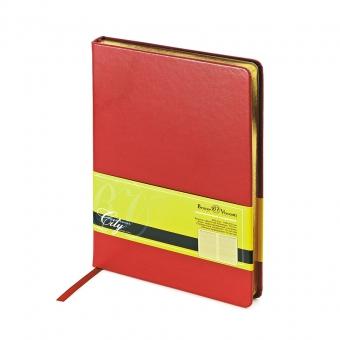 Ежедневник недатированный City, красный, А5, бежевый блок, золотой обрез, ляссе
