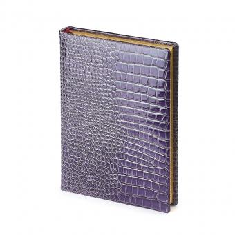 Ежедневник полудатированный Manhattan New, А5+, фиолетовый, бежевый блок, золотой обрез, два ляссе