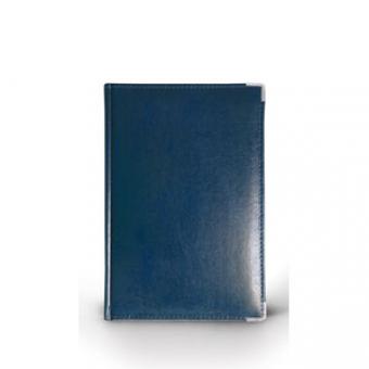 Ежедневник полудатированный Imperium, А6+, синий, бежевый блок, серебряный обрез, два ляссе