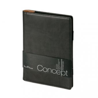 Еженедельник недатированный Concept, А5, черный, бежевый блок, без обреза