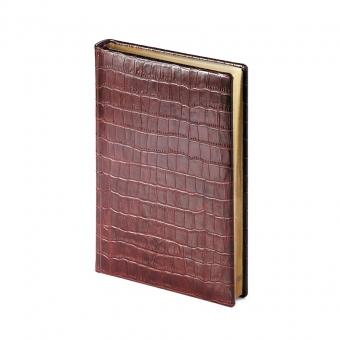 Ежедневник полудатированный Croco, А5+, коричневый, бежевый блок, золотой обрез, два ляссе, карта