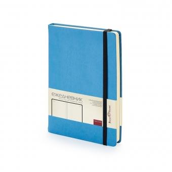 Ежедневник недатированный Megapolis Velvet, А5, небесно-голубой, бежевый блок, без обреза, ляссе