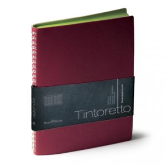 Еженедельник недатированный Tintoretto, B5, бордовый, белый блок, зеленый обрез