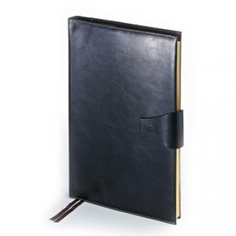 Еженедельник недатированный Windsor, А4, черный, бежевый блок, золотой обрез, два ляссе