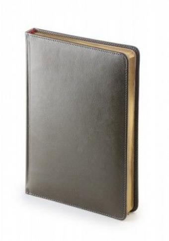 Ежедневник датированный Sidney Nebraska, А5, серый, белый блок, золотой обрез, ляссе