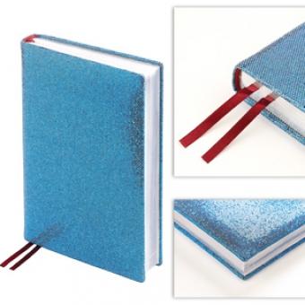 Ежедневник полудатированный Light Blue,  А5+, голубой, серебрянный обрез, два ляссе