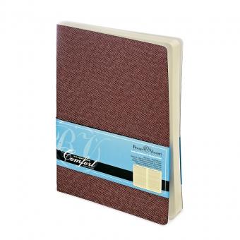 Ежедневник недатированный Comfort, А6, коричневый, бежевый блок, без обреза, ляссе
