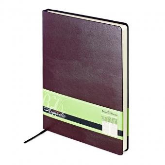 Ежедневник недатированный Megapolis, А4, коричневый, бежевый блок, без обреза, ляссе