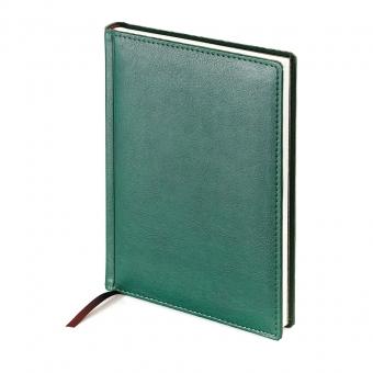 Ежедневник недатированный Leader, А5, зеленый, белый блок, закругленные углы, без обреза