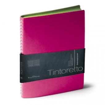 Еженедельник недатированный Tintoretto, B5, розовый,белый блок, зеленый обрез